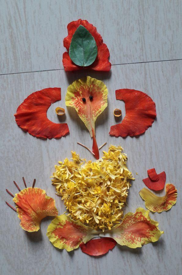 उपलब्ध फुले वापरून बनवलेल्या गणेशप्रतिमा