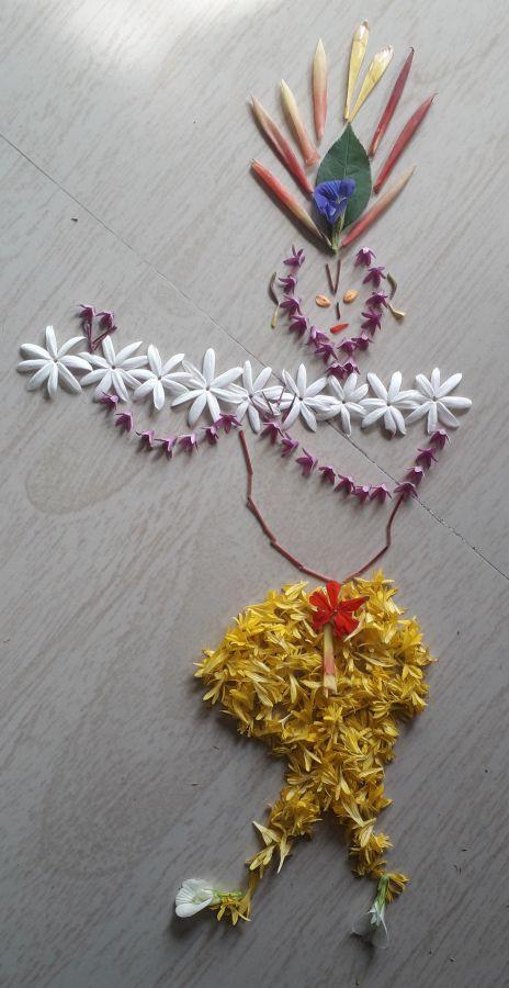 फुले, पाने वापरून कलाकृती