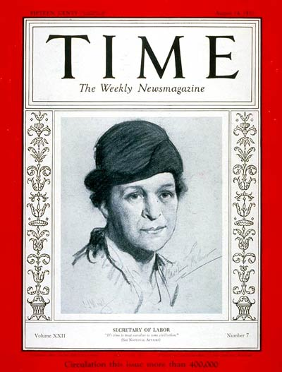 Frances Perkins on Time cover