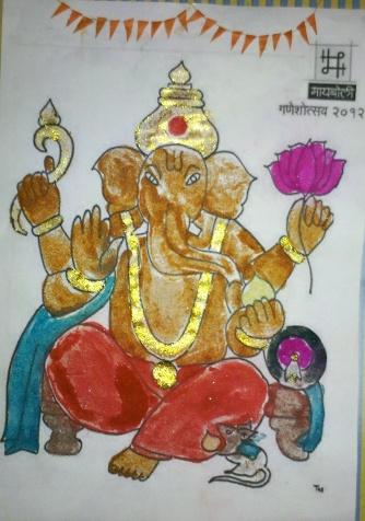 Ganapati-Rangoli pasting.jpg