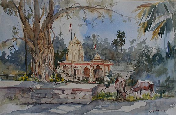 Ajay-Patil_Painting_Kelve_shitladevi_14x18_Watercolor-On-Paper.jpg