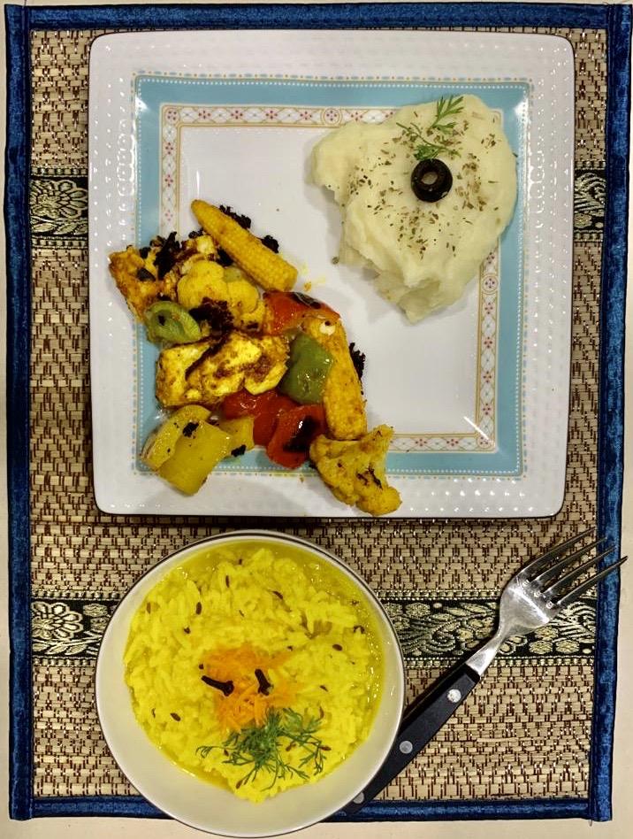 Khichadi Smash Potato and Grilled veggies .JPG