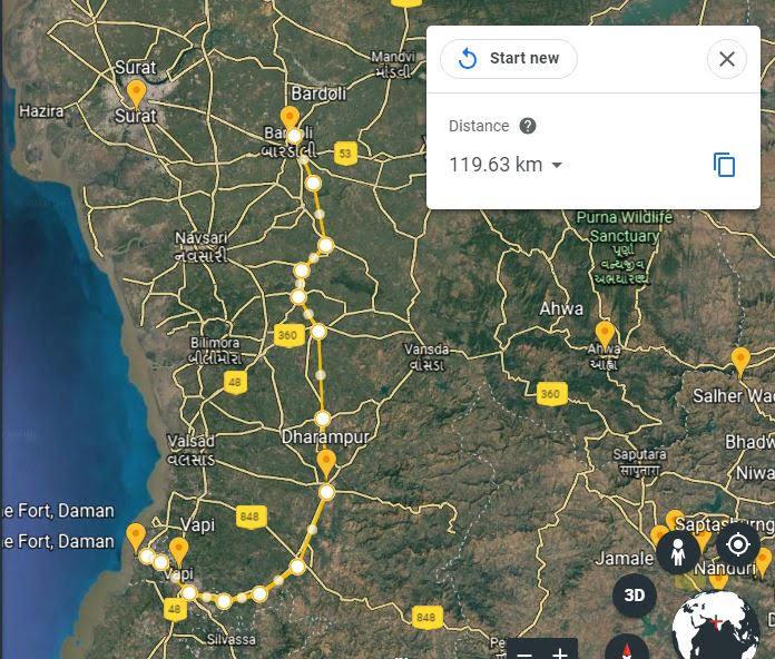 Bardoli to Dharampur 72 Daman 120kms.JPG